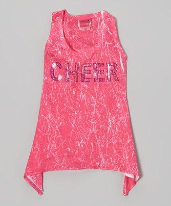Pink Sparkle 'Cheer' Sidetail Tank - Girls