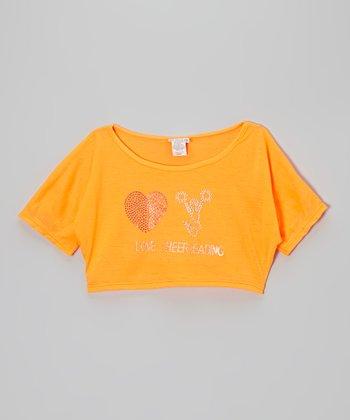 Orange 'Love Cheerleading' Crop Tee - Girls