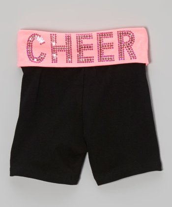 Neon Pink Sequin 'Cheer' Yoga Shorts - Girls