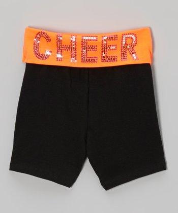 Neon Orange Sequin 'Cheer' Yoga Shorts - Girls