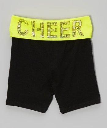 Neon Yellow Sequin 'Cheer' Yoga Shorts - Girls