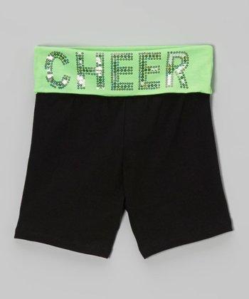 Neon Lime Sequin 'Cheer' Yoga Shorts - Girls