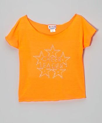 Orange 'Cheerleader' Crop Top - Girls