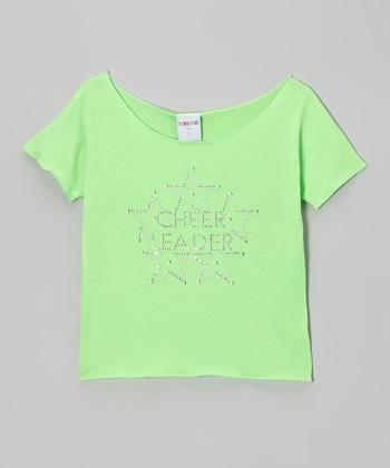 Lime 'Cheerleader' Crop Top - Girls