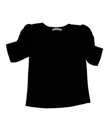 Black Anastasia Puff-Sleeve Top - Toddler & Girls