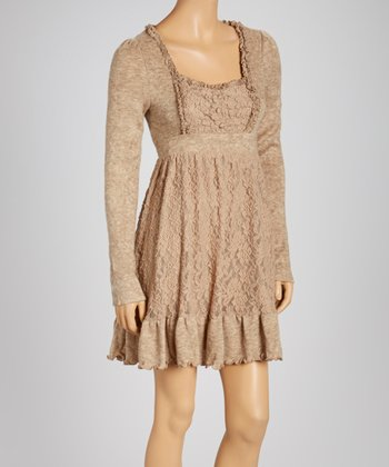 Taupe Ruched Empire-Waist Dress