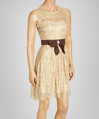 Beige Lace Sleeveless Dress