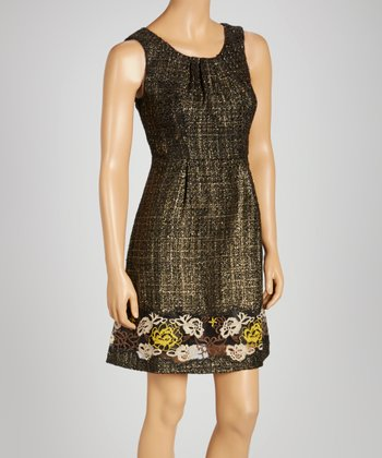 Black Tweed Embroidered Sleeveless Dress