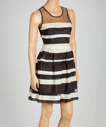 Black Stripe Tiered Sleeveless Dress