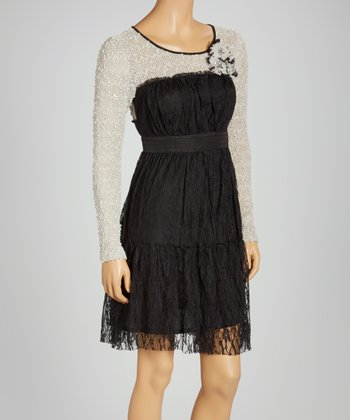Black Lace Long-Sleeve Dress