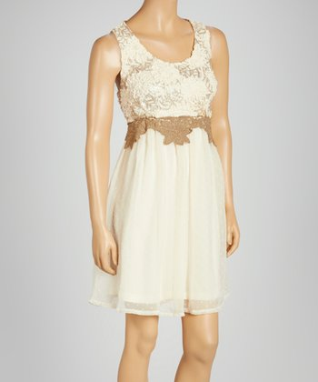Cream & Brown Lace-Back Sleeveless Dress