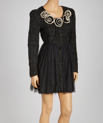 Black Tweed Long-Sleeve Dress