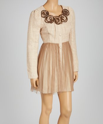 Champagne Tweed Long-Sleeve Dress