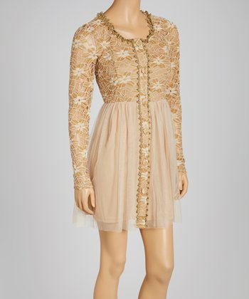 Beige Tulle Button-Up Dress