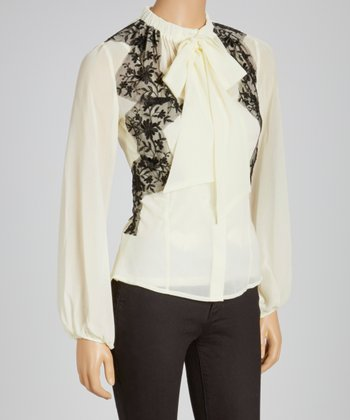 Ivory Lace Button-Up Top
