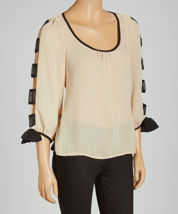 Cream Swiss Dot Cutout Top