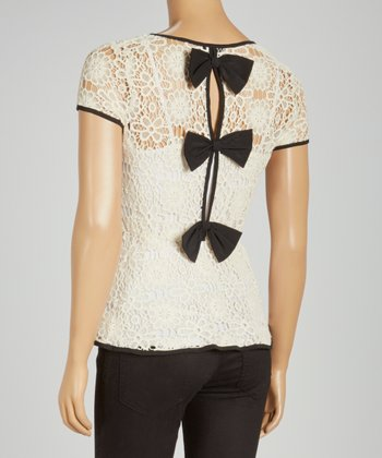 Cream Lace Peplum Top