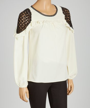 Ivory Lace-Accent Swing Top
