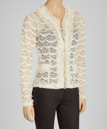 Cream Sheer Scallop Cardigan