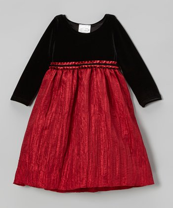 Red & Black Velvet Crinkle Dress - Infant, Toddler & Girls