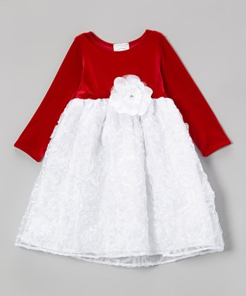 White & Red Velvet Ruffle Swirl Dress - Infant, Toddler & Girls
