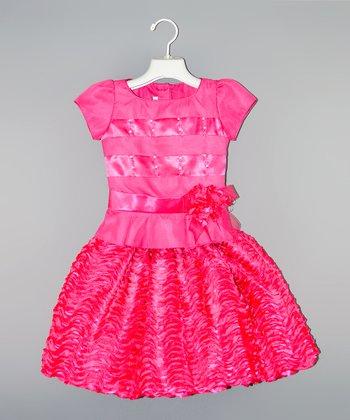 Fuchsia Satin Stripe Ruffle Dress - Toddler & Girls