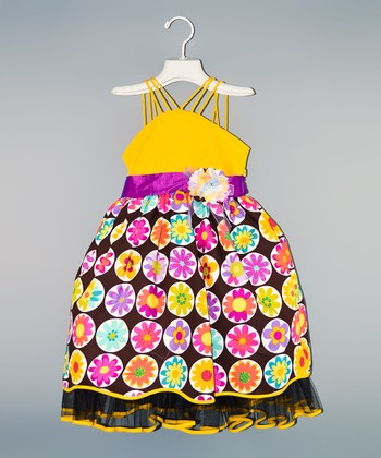 Yellow & Purple Floral Dress - Toddler & Girls