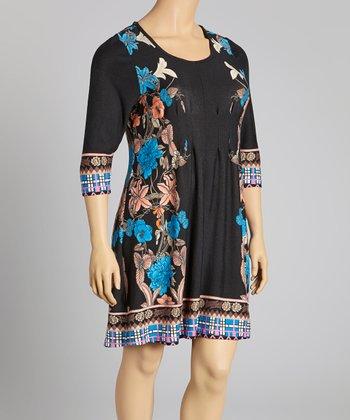 Reborn Collection Black & Royal Blue Floral Scoop Neck Shift Dress - Plus
