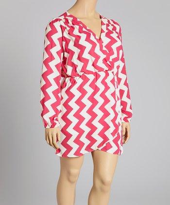 Reborn Collection Pink Zigzag Surplice Dress - Plus