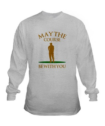 Ash Gray 'May the Course Be With You' Long  Sleeve Tee - Men