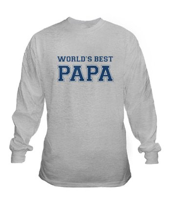 Ash Gray 'World's Best Papa' Long Sleeve  Tee - Men