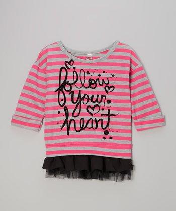 Fruit Punch Stripe 'Follow Your Heart' Chiffon-Trim Sweater