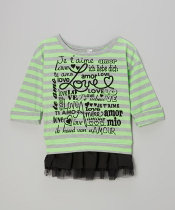 Neon Green Stripe 'Love' Chiffon-Trim Sweater