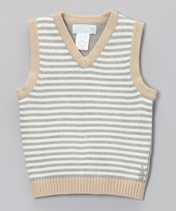 Light Gray Stripe Sweater Vest - Toddler & Boys