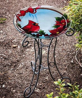 Holiday Cardinal & Poinsettia Birdbath