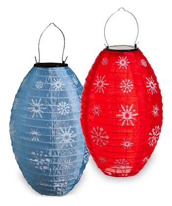 Snowflakes Fabric Lantern Set