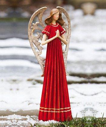Red Praying Angel Figurine
