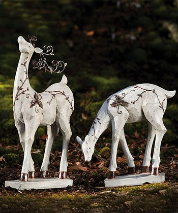 Nature's Promise Reindeer Statue Set
