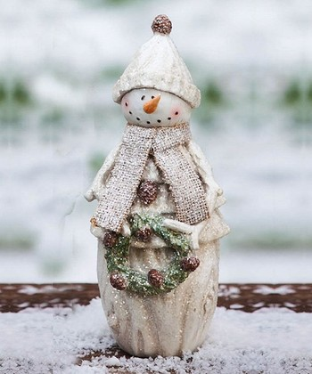 Frosty Holiday Snowman & Wreath Statue