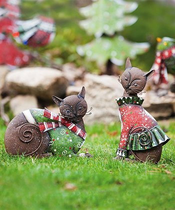 Christmas Kitty Statue Set