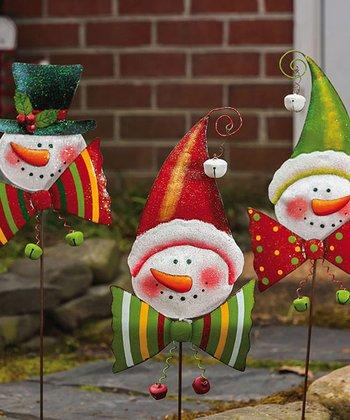 Bow Tie Snowman Garden Stake Set
