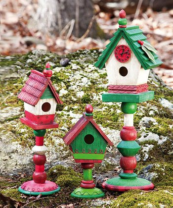 It's Christmas Time Assorted Birdhouse Statue Set