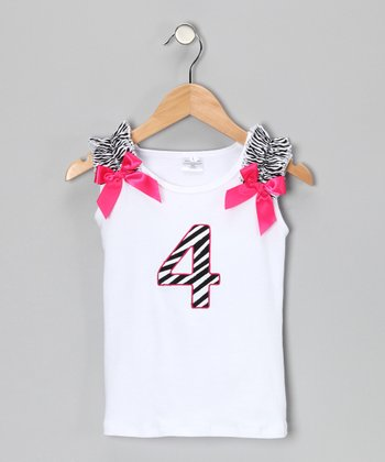 White & Pink Zebra '4' Birthday Tank - Girls