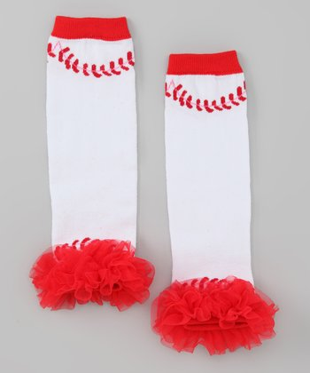 White & Red Baseball Leg Warmers