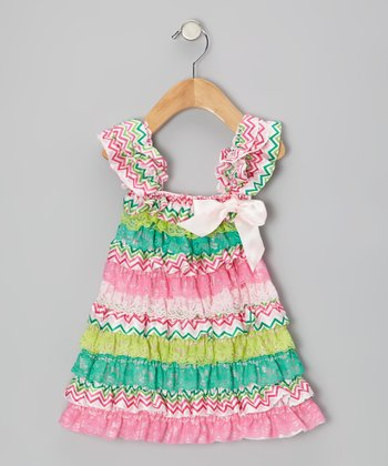 Pink & Teal Zigzag Ruffle Dress - Infant, Toddler & Girls