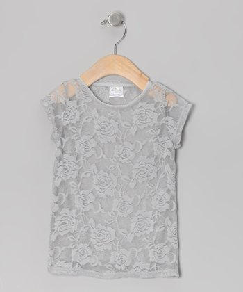 Gray Floral Lace Top - Infant, Toddler & Girls