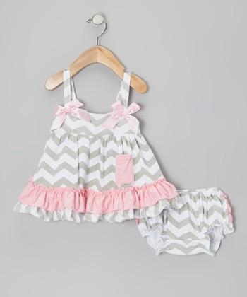 Gray & Pink Zigzag Swing Tunic & Diaper Cover - Infant