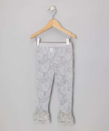 Gray Lace Ruffle Leggings - Infant, Toddler & Girls