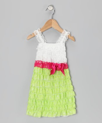 Lime & White Lace Ruffle Dress - Infant, Toddler & Girls