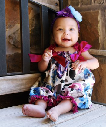 Purple Floral Bubble Romper - Infant